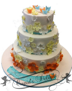 Colourful floral birthday cake