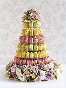 Wedding macaron tower and flowers