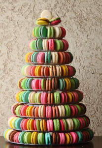 Colourful wedding macarons tower