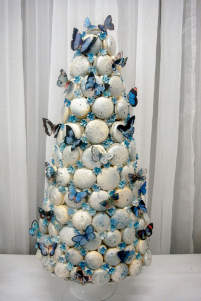 Macaron tower decorated with butterflies