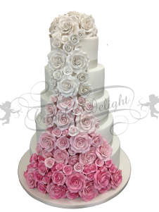 Cake covered in rose waterfall
