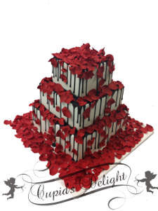 Wedding cake covered with rose flakes