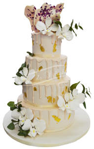 Floral wedding cake soaked in honey